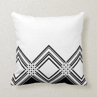 Coussin Motif géométrique abstrait - noir et blanc.