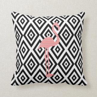 Coussin Motif géométrique abstrait - noir - flamant rose