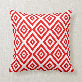 Coussin Motif géométrique abstrait - rouge et blanc