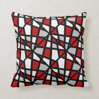 Coussin Motif géométrique blanc noir gris rouge