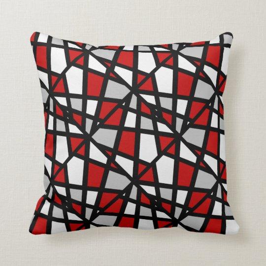coussin motif g om trique blanc noir gris rouge. Black Bedroom Furniture Sets. Home Design Ideas