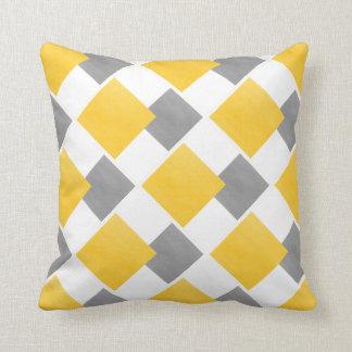 Coussin Motif géométrique jaune de bloc de blanc gris