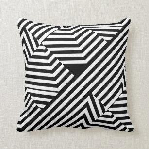 coussins motif noir et blanc graphique. Black Bedroom Furniture Sets. Home Design Ideas