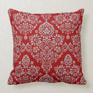 Coussin Motif luxueux de damassé sur riche et rouge-foncé