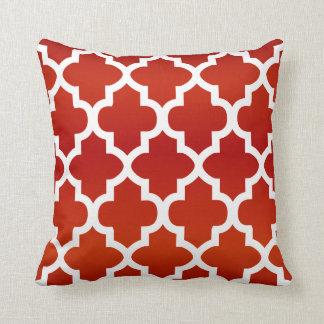 Coussin Motif rouge-foncé et blanc de Quatrefoil