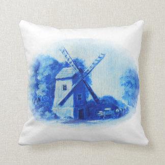 Coussin Moulin de vent, motif bleu de Delft, impression