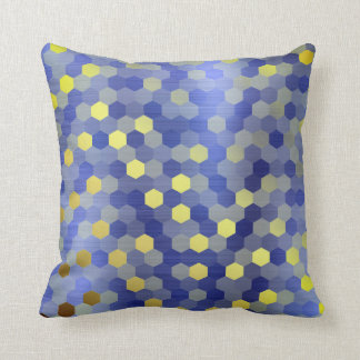 Coussin Moutarde bleue d'hexagone de saphir de cobalt d'or