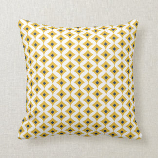 Coussin Moutarde, marine et carreau géométrique blanc