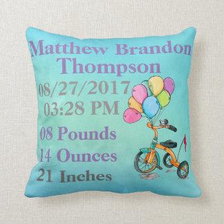 Coussin Naissance bleue de ballon de tricycle de tricycle