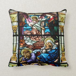 Coussin Naissance de fenêtre en verre teinté de Jésus