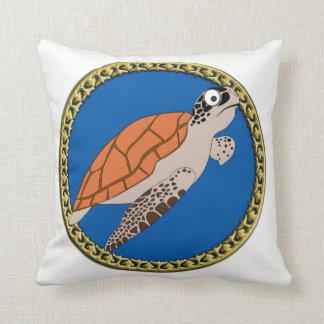 Coussin Natation orange de tortue de mer avec un cadre