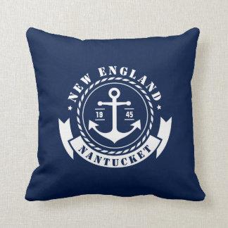 Coussin Nautique, maritime, ancre, étiquette, carreau