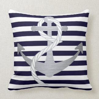 Coussin Navigation nautique d'ancre de bleu marine et