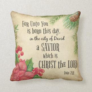 Coussin Noël de vers de bible