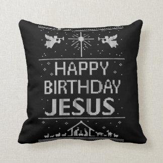 Coussin Noël élégant de Jésus de joyeux anniversaire