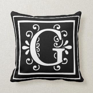 Coussin Noir de monogramme de la lettre G
