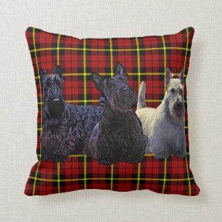 Coussin Noir de Terrier d'écossais/plaid blond comme les