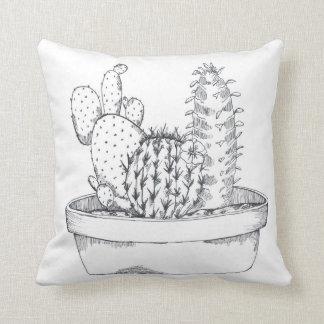 Coussin noir et blanc de cactus