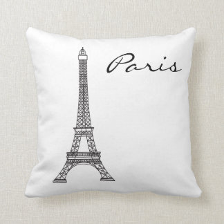 Coussin noir et blanc de point de repère de Paris