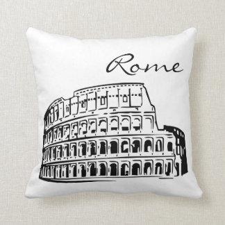 Coussin noir et blanc de point de repère de Rome