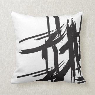 Coussin Noir et blanc, décoratif, résumé