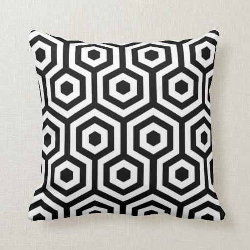 coussin noir et blanc l gant de motif zazzle. Black Bedroom Furniture Sets. Home Design Ideas