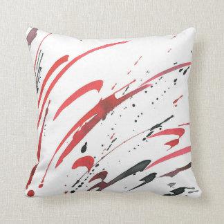 Coussin noir gris rouge d'abrégé sur aquarelle