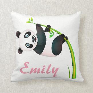 Coussin Nom en bambou accrochant noir et blanc d'ours
