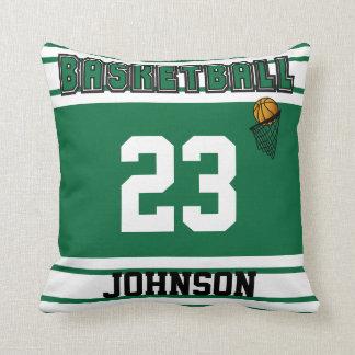 Coussin Nom et nombre vert-foncé et blancs du basket-ball