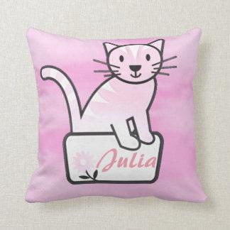 Coussin Nom rose de fleur de Kitty de chaton de chat