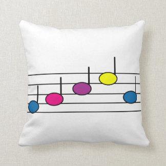 Coussin Notes colorées de musique sur un personnel de