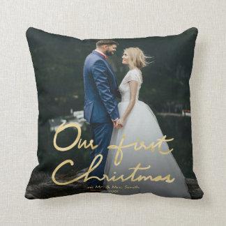 Coussin Notre premier Noël comme M. et Mme photo de