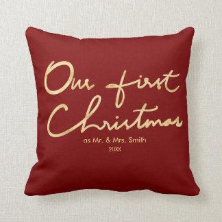 Coussin Notre premier Noël comme M. et Mme | pour des