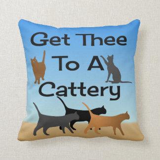 Coussin Obtenez Thee à un carreau de pension pour chats