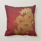 Coussin Or chinois et rouge de dragon
