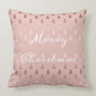 Coussin Or rose élégant et motif rose d'arbre de Noël