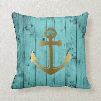 Coussin Or turquoise en bois d'ancre nautique de bleu de