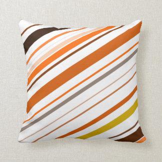 Coussin Orange, jaune, Brown et rayures diagonales