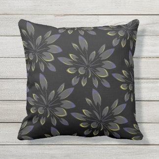 Coussin Palmiers floraux d'été tropical noir extérieurs