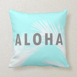 Coussin Palmiers gris de typographie de Hawaïen Aloha