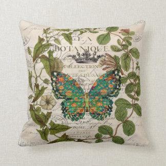 Coussin papillon botanique français de manuscrits de