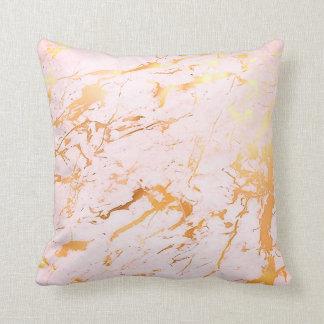 Coussin Pastel de marbre Girly de rose rose d'or de résumé