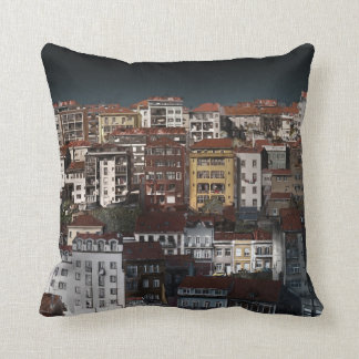 Coussin Paysage urbain foncé de noir de nuit de paysage de