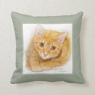 Coussin Peinture orange de chat tigré