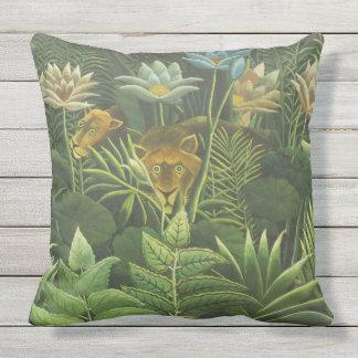 Coussin Peinture tropicale d'impression d'art de lion de