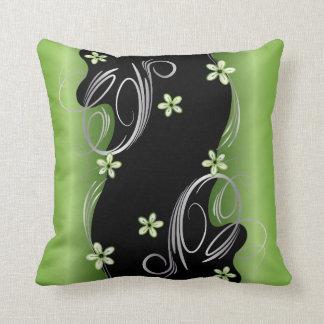 Coussin Peridot floral et conception noire de remous