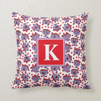 Coussin Petit monogramme rouge du motif de point de polka