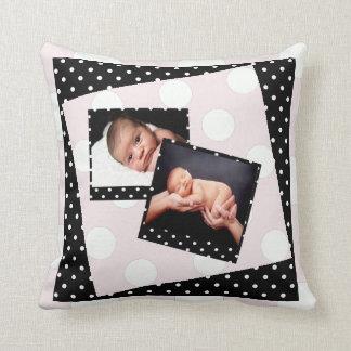 Coussin Photographie de point de polka de photo de bébé de