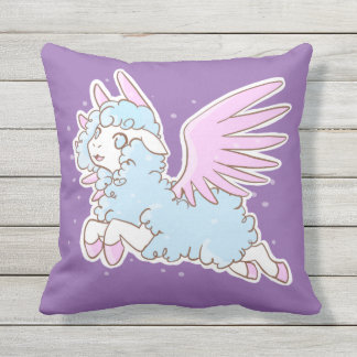 Coussin Pillow Kawaii fantasy winged sheep purple