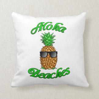 Coussin Plages hawaïennes drôles d'ananas Aloha